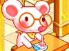 白耳鼠吃チーズケーキ