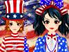 アメリカ独立日旗装少女